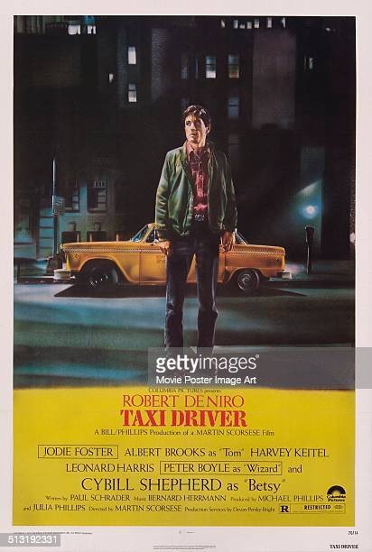 A poster for Martin Scorsese's 1976 crime film 'Taxi Driver' starring Robert De Niro