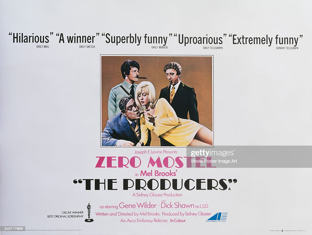 A poster for Mel Brooks' 1967 comedy film 'The Producers' starring <a gi-track='captionPersonalityLinkClicked' href=/galleries/search?phrase=Zero+Mostel&family=editorial&specificpeople=207033 ng-click='$event.stopPropagation()'>Zero Mostel</a>, <a gi-track='captionPersonalityLinkClicked' href=/galleries/search?phrase=Gene+Wilder&family=editorial&specificpeople=215471 ng-click='$event.stopPropagation()'>Gene Wilder</a>, Dick Shawn, and Lee Meredith.