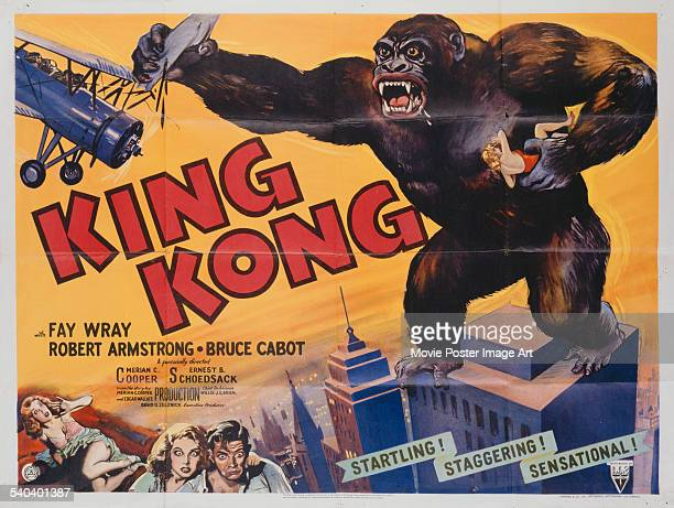 A poster for Merian C Cooper's 1933 adventure film'King Kong' starring Fay Wray and Bruce Cabot