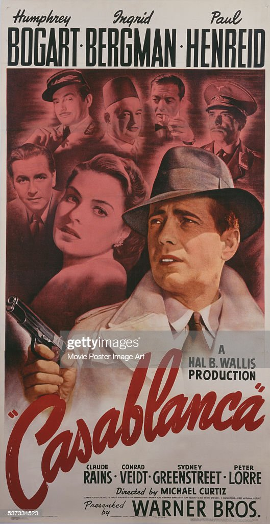 A poster for Michael Curtiz's 1942 drama 'Casablanca' starring <a gi-track='captionPersonalityLinkClicked' href=/galleries/search?phrase=Humphrey+Bogart&family=editorial&specificpeople=70004 ng-click='$event.stopPropagation()'>Humphrey Bogart</a>, <a gi-track='captionPersonalityLinkClicked' href=/galleries/search?phrase=Ingrid+Bergman&family=editorial&specificpeople=70003 ng-click='$event.stopPropagation()'>Ingrid Bergman</a>, <a gi-track='captionPersonalityLinkClicked' href=/galleries/search?phrase=Paul+Henreid&family=editorial&specificpeople=92297 ng-click='$event.stopPropagation()'>Paul Henreid</a>, <a gi-track='captionPersonalityLinkClicked' href=/galleries/search?phrase=Claude+Rains&family=editorial&specificpeople=228466 ng-click='$event.stopPropagation()'>Claude Rains</a>, <a gi-track='captionPersonalityLinkClicked' href=/galleries/search?phrase=Conrad+Veidt&family=editorial&specificpeople=240170 ng-click='$event.stopPropagation()'>Conrad Veidt</a> and Sydney Greenstreet.