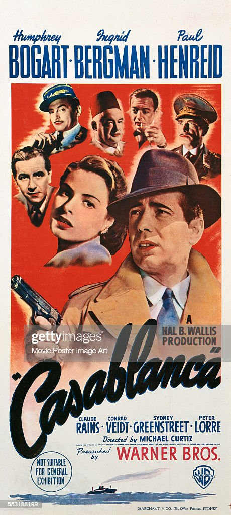 A poster for Michael Curtiz's 1942 drama 'Casablanca' starring <a gi-track='captionPersonalityLinkClicked' href=/galleries/search?phrase=Humphrey+Bogart&family=editorial&specificpeople=70004 ng-click='$event.stopPropagation()'>Humphrey Bogart</a>, <a gi-track='captionPersonalityLinkClicked' href=/galleries/search?phrase=Ingrid+Bergman&family=editorial&specificpeople=70003 ng-click='$event.stopPropagation()'>Ingrid Bergman</a>, <a gi-track='captionPersonalityLinkClicked' href=/galleries/search?phrase=Claude+Rains&family=editorial&specificpeople=228466 ng-click='$event.stopPropagation()'>Claude Rains</a>, <a gi-track='captionPersonalityLinkClicked' href=/galleries/search?phrase=Conrad+Veidt&family=editorial&specificpeople=240170 ng-click='$event.stopPropagation()'>Conrad Veidt</a>, Sydney Greenstreet, and <a gi-track='captionPersonalityLinkClicked' href=/galleries/search?phrase=Paul+Henreid&family=editorial&specificpeople=92297 ng-click='$event.stopPropagation()'>Paul Henreid</a>.