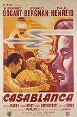 A poster for Michael Curtiz's 1942 drama 'Casablanca' starring Humphrey Bogart Ingrid Bergman and Paul Henreid