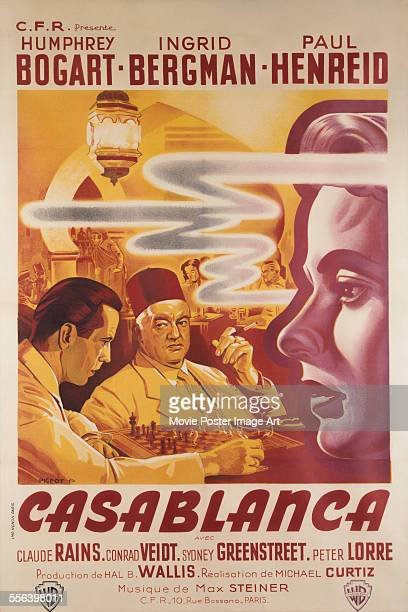 A poster for Michael Curtiz's 1942 drama 'Casablanca' starring Humphrey Bogart Ingrid Bergman and Paul Henreid