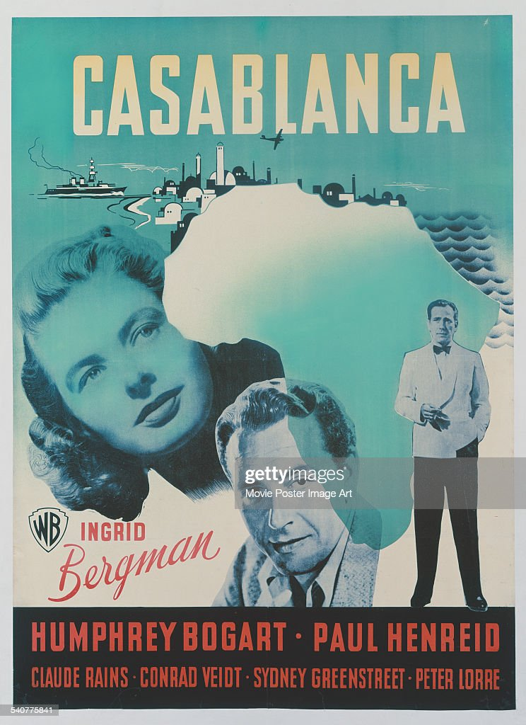 A poster for Michael Curtiz's 1942 drama 'Casablanca' starring <a gi-track='captionPersonalityLinkClicked' href=/galleries/search?phrase=Paul+Henreid&family=editorial&specificpeople=92297 ng-click='$event.stopPropagation()'>Paul Henreid</a>, <a gi-track='captionPersonalityLinkClicked' href=/galleries/search?phrase=Humphrey+Bogart&family=editorial&specificpeople=70004 ng-click='$event.stopPropagation()'>Humphrey Bogart</a> and <a gi-track='captionPersonalityLinkClicked' href=/galleries/search?phrase=Ingrid+Bergman&family=editorial&specificpeople=70003 ng-click='$event.stopPropagation()'>Ingrid Bergman</a>.