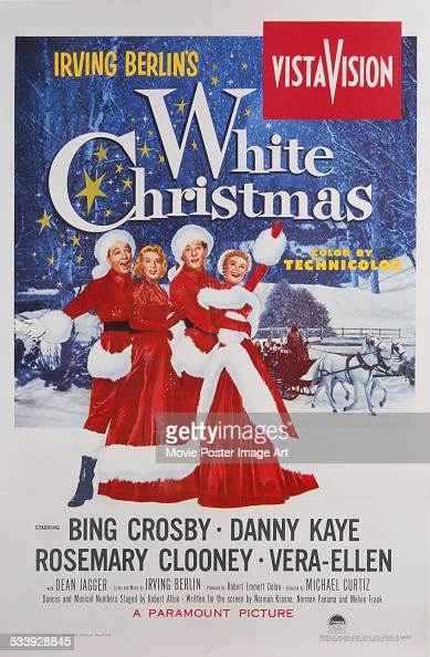 A poster for Michael Curtiz's 1954 comedy 'White Christmas' starring Bing Crosby Danny Kaye Rosemary Clooney and VeraEllen