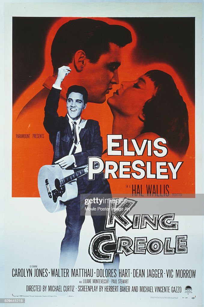 A poster for Michael Curtiz's 1958 crime film 'King Creole' starring Elvis Presley and Carolyn Jones.