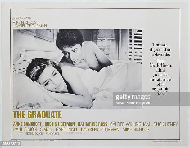 A poster for Mike Nichols' 1967 comedy drama 'The Graduate' starring Dustin Hoffman and Anne Bancroft