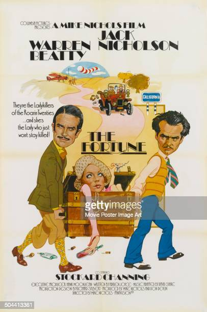 A poster for Mike Nichols' 1975 comedy 'The Fortune' starring Warren Beatty Stockard Channing and Jack Nicholson