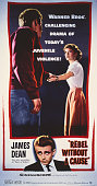 A poster for Nicholas Ray's 1955 drama 'Rebel Without a Cause' starring James Dean and Natalie Wood