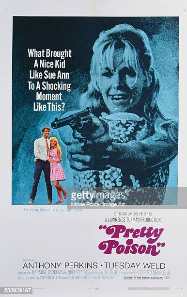 A poster for Noel Black's 1968 comedy 'Pretty Poison' starring Anthony Perkins and Tuesday Weld