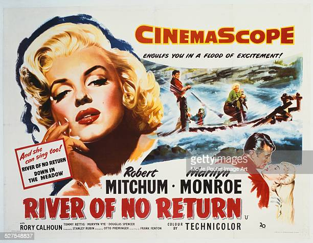 A poster for Otto Preminger's 1954 western 'River of No Return' starring Robert Mitchum and Marilyn Monroe