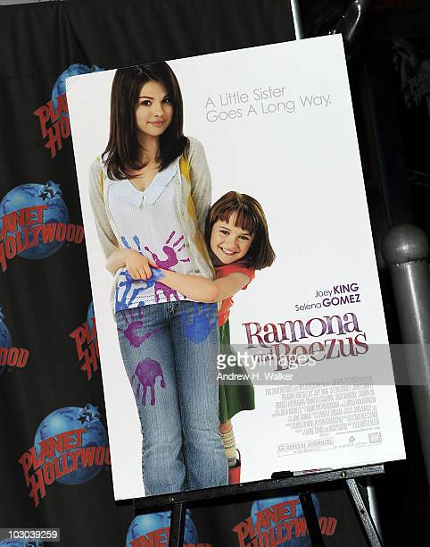 A poster for 'Ramona and Beezus' at Planet Hollywood Times Square during a promotion with actress Joey King on July 22 2010 in New York City