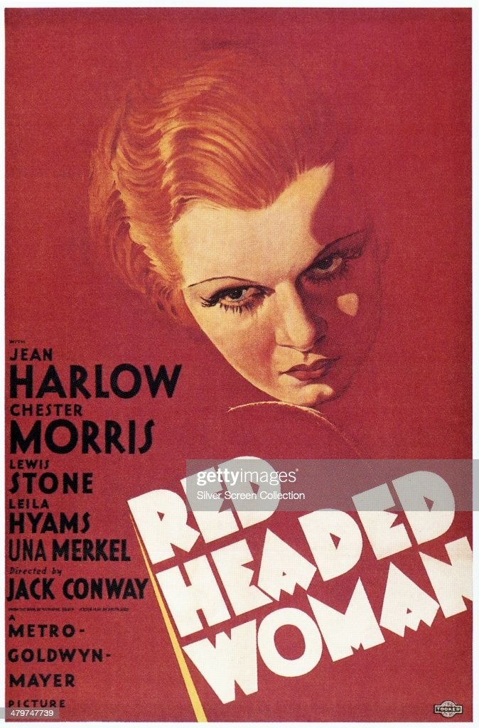 A poster for 'RedHeaded Woman' directed by Jack Conway and starring Jean Harlow 1932
