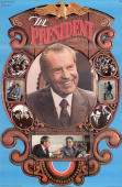 Poster for Republican president Richard M Nixon's reelection campaign showing various scenes from his presidency 1972