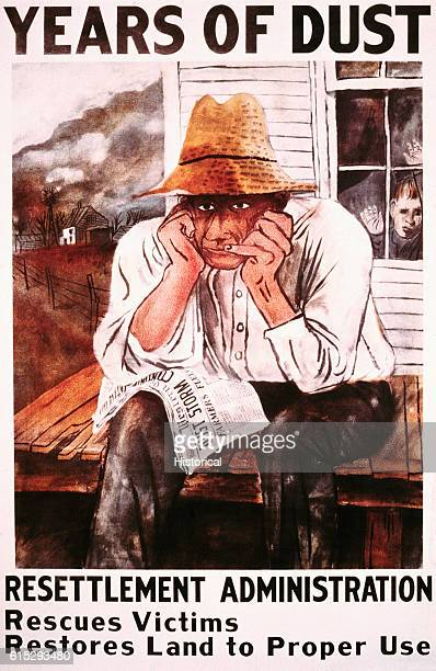 Poster for resettlement adminstration A dejected farmer sits on his porch with a newspaper on his lap containing headlines about a dust storm Dust...