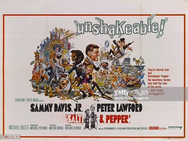 A poster for Richard Donner's 1968 comedy 'Salt and Pepper' starring Sammy Davis Jr and Peter Lawford