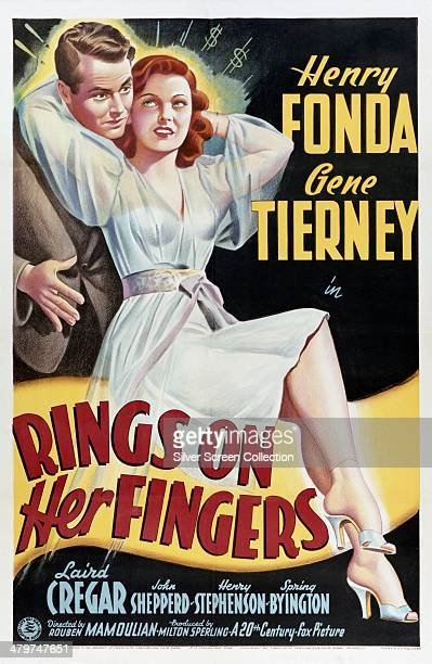 A poster for 'Rings On Her Fingers' directed by Rouben Mamoulian and starring Henry Fonda and Gene Tierney 1942
