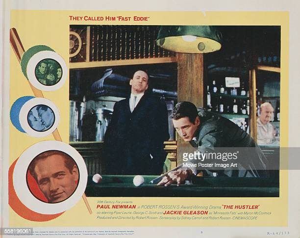 A poster for Robert Rossen's 1961 drama 'The Hustler' starring Paul Newman and George C Scott