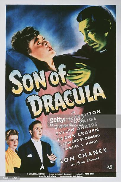 A poster for Robert Siodmak's 1943 horror film 'Son of Dracula' starring Lon Chaney Jr and Louise Allbritton
