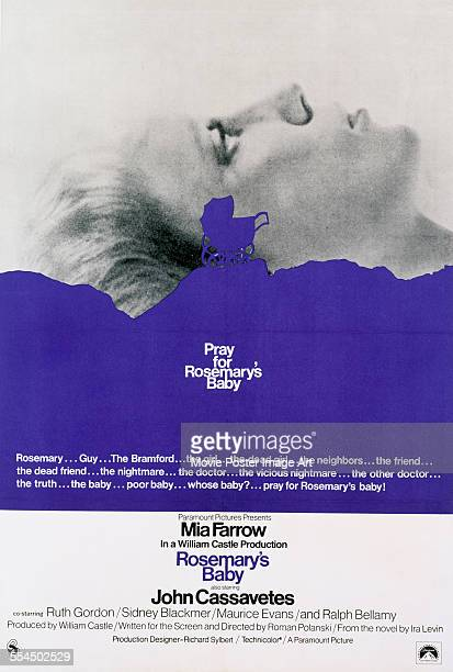 A poster for Roman Polanski's 1968 horror film 'Rosemary's Baby' starring Mia Farrow