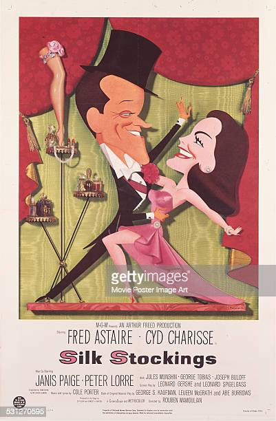 A poster for Rouben Mamoulian's 1957 comedy 'Silk Stockings' starring Fred Astaire and Cyd Charisse