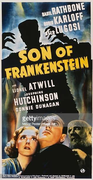 A poster for Rowland V Lee's 1939 horror 'Son of Frankenstein' starring Boris Karloff Basil Rathbone and Josephine Hutchinson