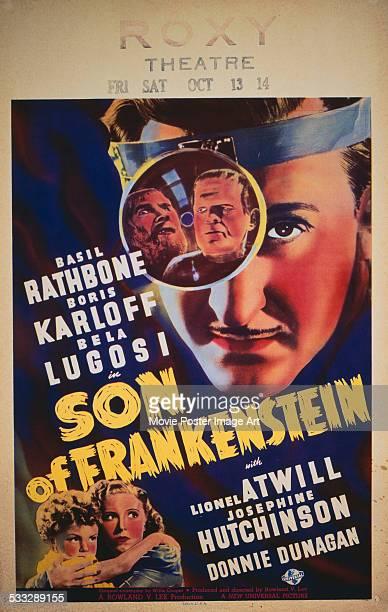 A poster for Rowland V Lee's 1939 horror 'The Son of Frankenstein' starring Boris Karloff Basil Rathbone and Bela Lugosi