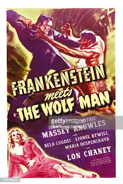 A poster for Roy William Neill's 1943 horror film 'Frankenstein Meets The Wolf Man' starring Bela Lugosi as Frankenstein's Monster Lon Chaney Jr as...