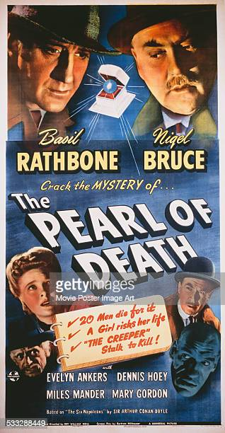 A poster for Roy William Neill's 1944 crime film 'The Pearl of Death' starring Basil Rathbone and Nigel Bruce