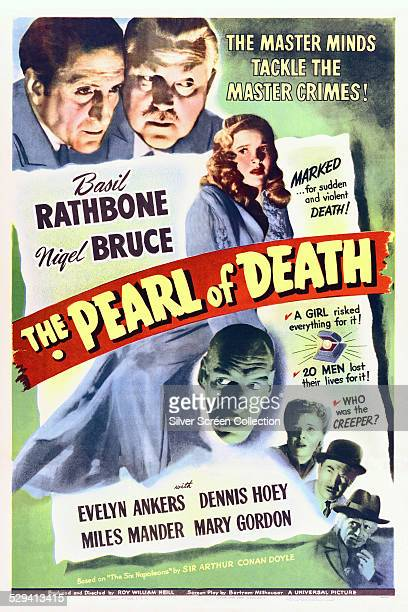 A poster for Roy William Neill's 1944 Sherlock Holmes film 'The Pearl Of Death' starring Basil Rathbone and Nigel Bruce