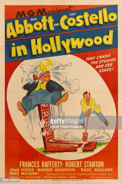 A poster for S Sylvan Simon's 1945 comedy 'Bud Abbott and Lou Costello in Hollywood'