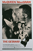 A poster for Sam Peckinpah's 1972 action film 'The Getaway' starring Steve McQueen and Ali MacGraw