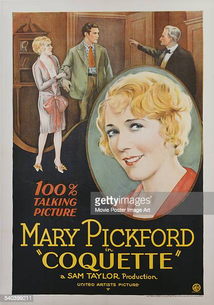 A poster for Sam Taylor's 1929 drama 'Coquette' starring Mary Pickford Johnny Mack Brown and John St Polis