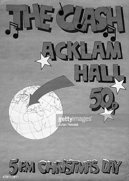 A poster for 'secret' gigs by British punk group The Clash at Acklam Hall Portobello Road London on Christmas Day and Boxing Day 1979