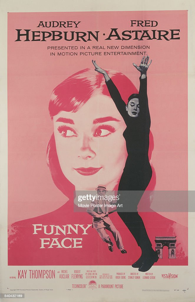 A poster for Stanley Donen's 1957 musical, 'Funny Face', starring <a gi-track='captionPersonalityLinkClicked' href=/galleries/search?phrase=Audrey+Hepburn&family=editorial&specificpeople=86470 ng-click='$event.stopPropagation()'>Audrey Hepburn</a> and <a gi-track='captionPersonalityLinkClicked' href=/galleries/search?phrase=Fred+Astaire&family=editorial&specificpeople=70031 ng-click='$event.stopPropagation()'>Fred Astaire</a>.