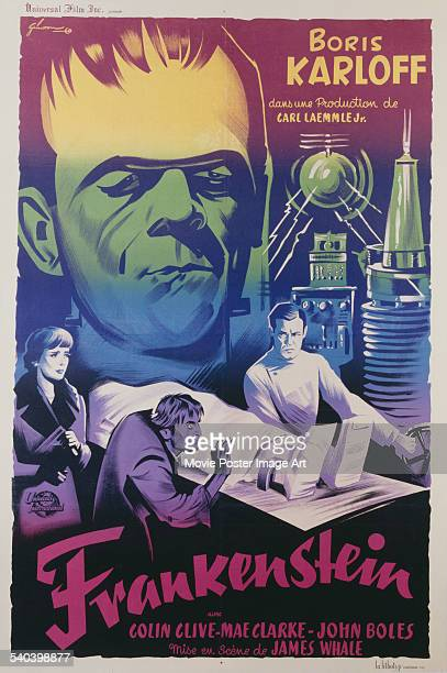 A poster for the 1947 French rerelease of James Whale's 1931 horror film 'Frankenstein' starring Colin Clive as Henry Frankenstein and Boris Karloff...