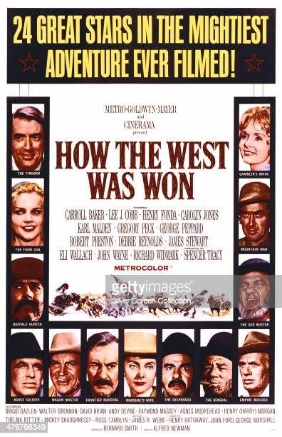 A poster for the 1962 western 'How The West Was Won' directed by John Ford Henry Hathaway George Marshall and Richard Thorpe The stars featured on...