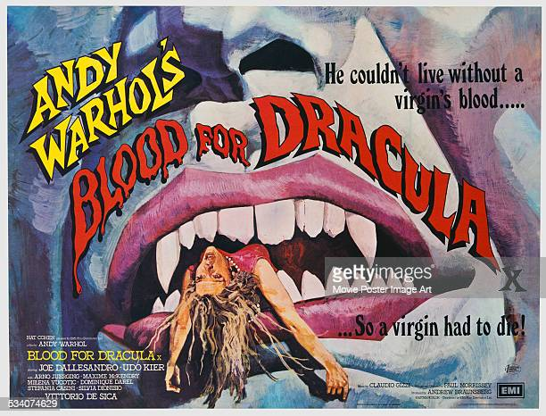 A poster for the 1974 horror film 'Blood For Dracula' directed by Paul Morrissey and produced by Andy Warhol The film stars Udo Kier and Joe...