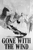 A poster for the American civil war epic 'Gone With the Wind' showing Vivien Leigh as Scarlett O'Hara running through the burning streets of Atlanta
