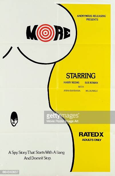 Image contains suggestive contentA poster for the Anonymous Releasing pornographic film 'More' starring Harry Reems and Sue Rowan 1975