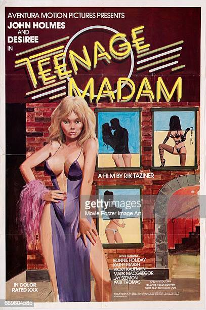 Image contains suggestive contentA poster for the Aventura Motion Pictures pornographic film 'Teenage Madam' starring John Holmes and Desiree West...