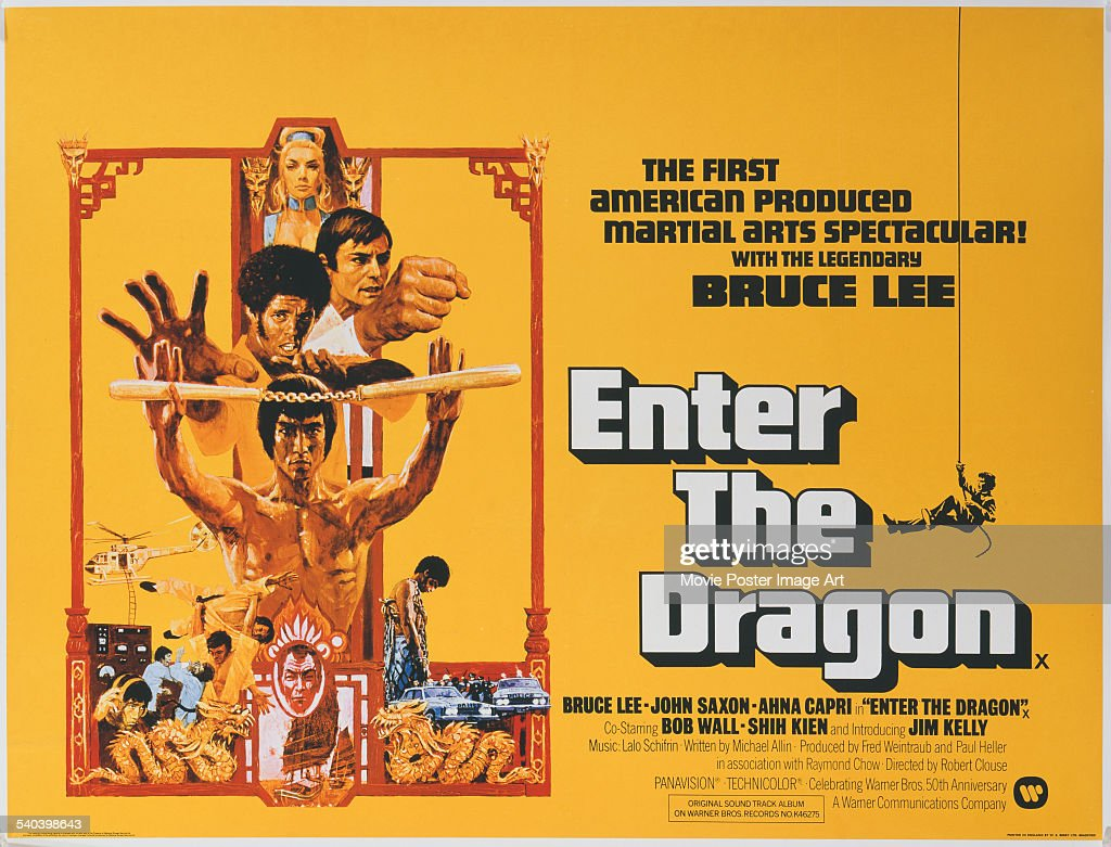A poster for the British release of Robert Clouse's 1973 martial arts action film, 'Enter The Dragon', starring (bottom to top) <a gi-track='captionPersonalityLinkClicked' href=/galleries/search?phrase=Bruce+Lee+-+Actor&family=editorial&specificpeople=453429 ng-click='$event.stopPropagation()'>Bruce Lee</a>, Jim Kelly, John Saxon and Ahna Capri.