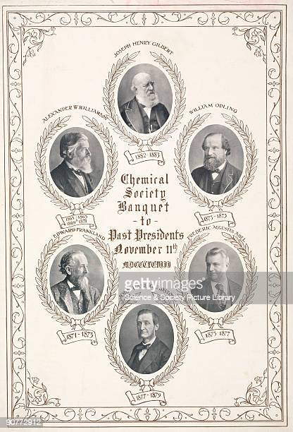 Poster for the Chemical Society Banquet 11 November 1898 with photographs of six past presidents from 18631883 including Sir Edward Frankland...