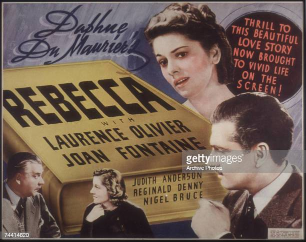 A poster for the dark romance 'Rebecca' directed by Alfred Hitchcock and starring English actor Laurence Olivier as Max de Winter Joan Fontaine as...