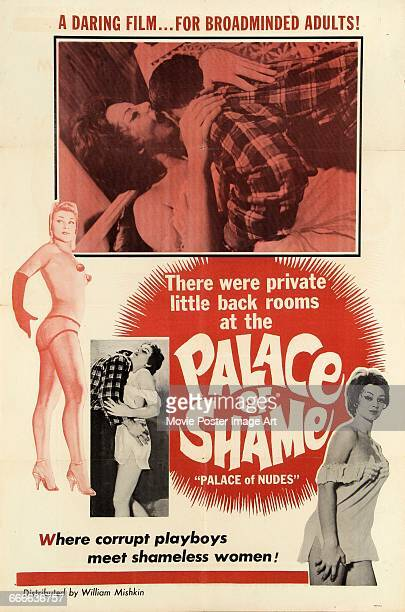 Image contains suggestive contentA poster for the exploitation film 'Palace of Shame' a dubbed version of the French film 'Crime au Concert Mayol'...