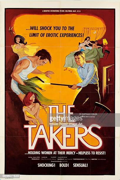 Image contains suggestive contentA poster for the exploitation film 'The Takers' starring Susan Apple and Fred Bush 1971