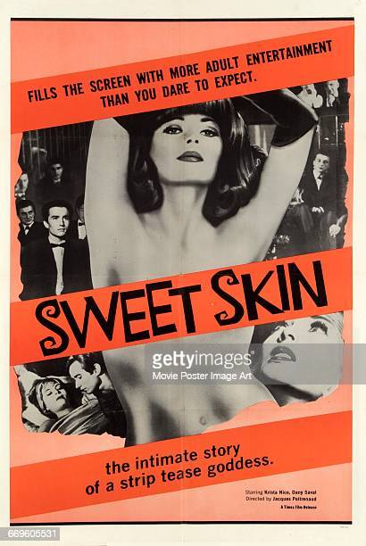 Image contains suggestive contentA poster for the French erotic film 'Sweet Skin' directed by Jacques Poitrenaud 1963