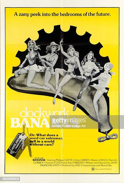 Image contains suggestive contentA poster for the French pornographic film 'Clockwork Bananas' with the tagline 'A zany peek into the bedrooms of the...