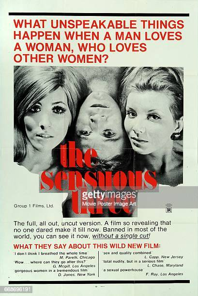 Image contains suggestive contentA poster for the German erotic film 'The Sensuous Three' written and directed by Robert van Ackeren 1972