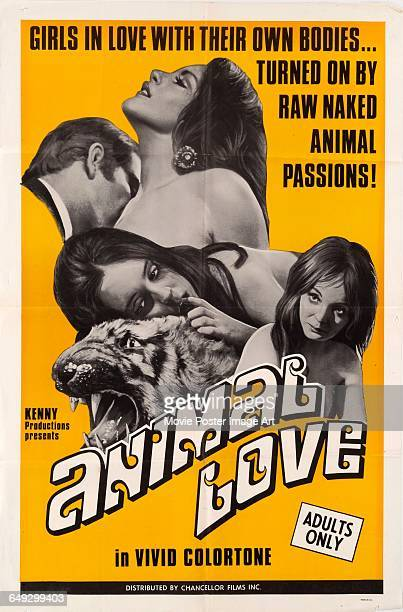 Image contains suggestive contentA poster for the Kenny Productions pornographic film 'Animal Love' with the tagline 'Girls in love with their own...